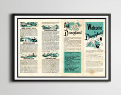 Vintage 1955 Disneyland Park Brochure Poster Up To 24 X 36 - Opening Year 2