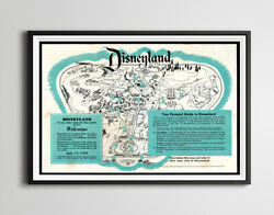 Vintage 1955 Opening Year Disneyland Park Brochure Poster Up To 24 X 36