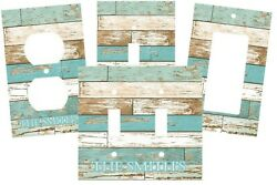 PERSONALIZED BEACH THEMED AGED WOOD LOOK LIGHT SWITCH PLATE COVER DECOR $12.00