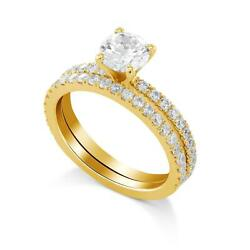 1.75 Ct D Vvs2 Round Diamond Engagement Ring With Matching Band 14k Rose Gold