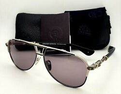 New CHROME HEARTS PAINAL Sunglasses Black & Sterling Silver Frames wGrey Lenses