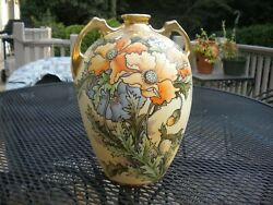 Royal Antique Nippon Hand Made And Painted Gold Gilded Poppys Vase