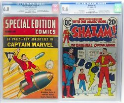Captain Marvel Special Edition Comics #1 8/40 CGC 6.0 and Shazam #1 2/73 CGC 9.6