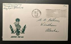 1944 Justice For All Little Rock Arkansas Windham Alaska Wwii Patriotic Cover