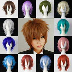 Cool Short Hair Full Wigs Multi-color Cosplay Costume Fashion Anime Party Hair