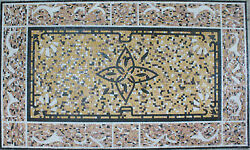 Repetitive Whale Tail Border Abstract Flower Carpet Marble Mosaic