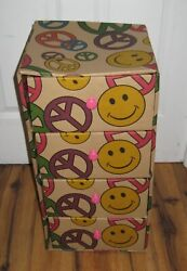 Vtg 1960s 1970s Hippie Peace Sign Smiley Face Cardboard Storage Chest 4 Drawers