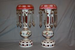 Bohemian Czech Glass Pair Vintage White Cut To Cranberry Mantle Lustres Luster