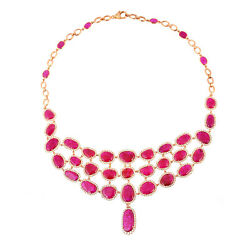 Christmas Sale 66.23ct Natural Ruby Choker Necklace 18k Rose Gold Jewelry