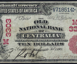 Il 1902 10 Red-seal ♚♚centralia Illinois♚♚ Pcgs Vf 20 Only Red-seal Known