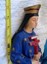 French Antique Amazing 16tall Our Lady Of Pontmain Polychrome Signed19th.c