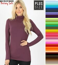 Plus Size Zenana Turtleneck Buttery Soft Long Sleeve Microfiber Top XL 1X 2X 3X $13.95
