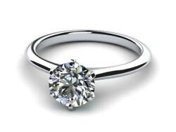Solitaire 1 Ct Round Diamond Ring Six Prong Certified 14 K White Gold Knife Edge
