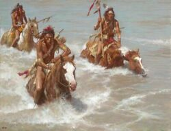 Howard Terpning  Pursuit Across The Yellowstone Ltd Giclee Canvas Native