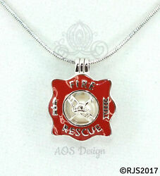 Firefighter Pearl Cage Necklace Fireman First Responder Silver Red Charm Locket