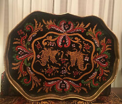Antique Chinese Plate Tray Glass Top Fighting Brass Roosters Cockfight