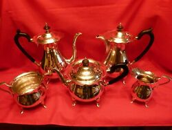 Huge 3.1 Kg Art Deco 1922 5 Piece Solid Silver Tea And Coffee Set By Walker And Hall