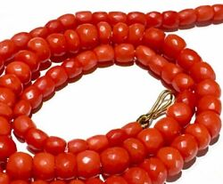 No Dye Antique Red Faceted Natural Coral Barrel Beads Necklace 珊瑚