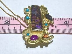 Large Rare Cathedral Pattern 14k Solid Australian Opal Pendant Chain Necklace