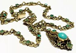Enamel Floral Turquoise Pearl Seeds Sterling Gold Gilt Austro Hungarian Necklace