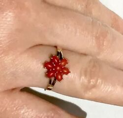 German Red No Dye Coral Flower Ring 333 Yellow Gold Ring