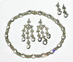 Riviere Georgian Victorian Paste Sterling Silver Gold Gilt Necklace Earrings