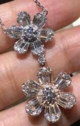 Large 2.03ct Diamond 18kt White And Rose Gold Classic Double Flower Love Pendant
