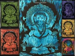 Indian Hindu Lord Ganesh Design Small Tapestry Wall Hanging Poster Cotton Hippee
