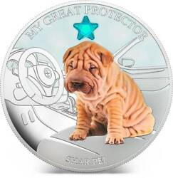 Fiji 2013 Dogs And Cats Shar Pei 2 Silver Proof Coin With Crystal Low Coa