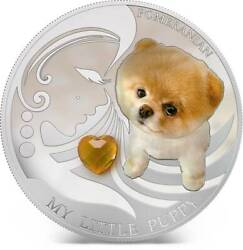 Fiji 2013 Dogs And Cats Pomeranian 2 Silver Proof Coin With Crystal Low Coa