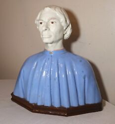 Large Antique 1800's Italian Majolica Religious Pottery Sculpture Statue Bust