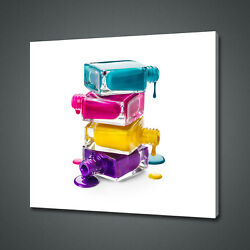 Dripping Nail Polish Colourful Bottles Canvas Print Wall Art Picture Photo