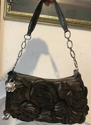 BRIGHTON VELVET ROSES 3D Flowered Pewter Evening Day Handbag Purse satchel tote $119.99