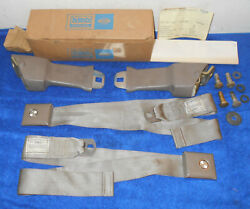 1967 Ford F100 F250 Truck Nos Deluxe Ivy Gold Green Front Seat Belts +retractors