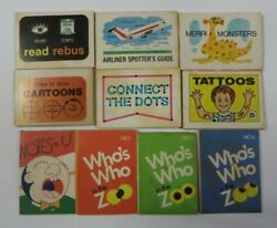 Vintage Lot Of 10 Cracker Jack Zoo Books Tattoos Games Toys Prize Premiums 10