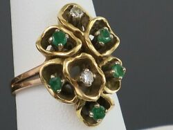 Vintage 1970s 0.35ctw Emerald And Diamond 18k Gold Ring, 8.9g, Size 7.5