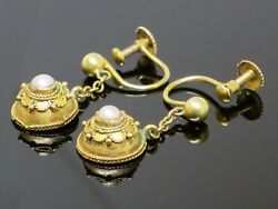 Rare Antique Victorian 1860 Etruscan Revival 9k Gold And Seed Pearl Earrings 2.2g