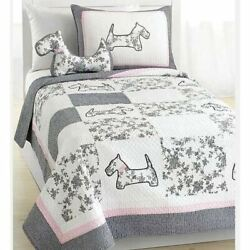 Pink Gray Scottish Terrier Dogs Patchwork 3pc Quilt Set Coverlet Twin Full Queen