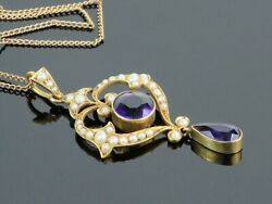 Rare Victorian 1890 2.35ctw Amethyst And Seed Pearl 9k Gold Lavalier Pendant 4.9g