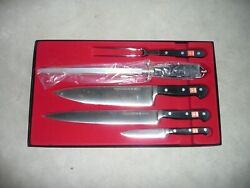 Wusthof Gourmet Forged 5 Piece Chef Knife Set With Fork And Sharpening Steel New