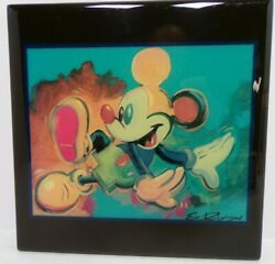 Rare Disney Mickey Mouse Thick Glass Print By Eric Robison 8 X 8 Dancing Art