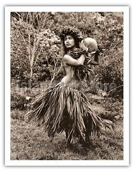 Hawaiian Hula Dancer Ipu Iv - Alan Houghton 1960 Vintage Travel Poster Art Print