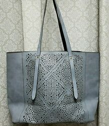 Kohl's Grey Cutout Design Large Tote Bag WRemovable Pouch EUC
