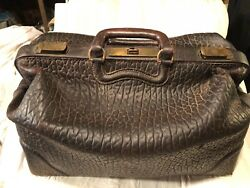 Antique Travel Brief Case Doctor Bag Textured Brown Leather