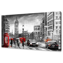 Streets Of London Red Phone Bus Big Ben Modern Canvas Print Wall Art Picture