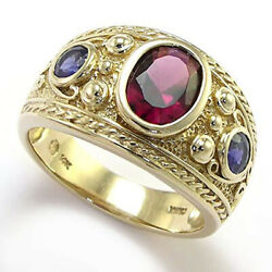Heavy Large Menand039s 14k Solid Yellow Gold Natural Iolite Garnet Ring 20 Gr 16mm