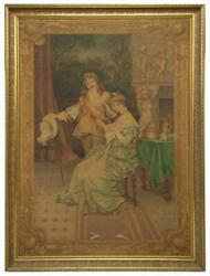 Tapestry, Large Framed Courting Scene Painted, Continental, Early 1900s