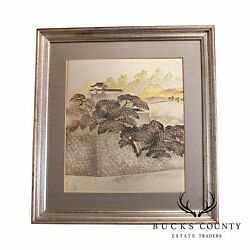 Chokin Art Framed Landscape Engraved Copper Gilded With Silver And Gold
