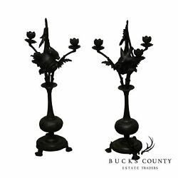 Pair Aesthetic Cast Metal Candlesticks Swallows Nesting In Hanging Gourds
