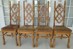 Thomasville French Country Farmhouse Dining Room Chairs Rush Seat Set Of 4